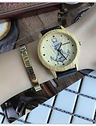 Masculino Mulheres Relógio de Pulso Único Criativo relógio Relógio Casual Relógio Madeira Chinês Quartzo / de madeira Couro BandaLegal