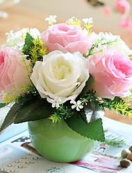 Roses Ceramics Vase Floriculture Set Tabletop Flower Artificial Flowers