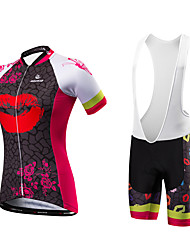 Cycling Jersey with Shorts Women's Short Sleeves Bike Bib Tights Jersey Quick Dry Anatomic Design Ultraviolet Resistant Moisture