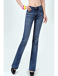 Women's High Rise High Elasticity Jeans Pants,Simple Bootcut Solid
