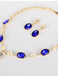 Set de Bijoux Bracelets Rigides Collier court /Ras-du-cou Cristal A Fleurs Géométrique Cristal Forme Ronde Bleu de minuit1 Collier 1