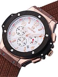 SKONE Pánské Sportovní hodinky Módní hodinky čínština Křemenný Silikon Kapela Černá Stříbro Hnědá