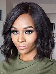 Short Wavy Bob Style Full Lace Wig Brazilian Human Hair Natural Color Lace Wig Middle Part with Natural Hairline Cute Bob Glueless Full Lace Wig