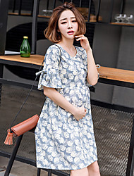 Maternity Summer Wear Fashionable Sweet Fashion  Horn Sleeve Printed Lactation Loose  Leisure Pregnant Women Dress
