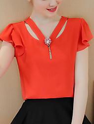 Женская повседневная / повседневная простая весенняя осенняя блузка, твердая шея с коротким рукавом из полиэфирной ткани