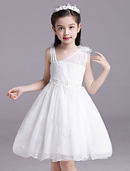 Ball Gown Short / Mini Flower Girl Dress - Cotton Satin Tulle Straps with Bow(s) Crystal Detailing Embroidery Flower(s) Sash / Ribbon