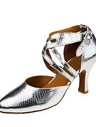 Women's Dance Shoes Modern Latin Ballroom Salsa Tango Dance Shoe Heel Professional  Silver Customizable