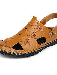 Men's Sandals Summer Comfort Light Soles Leather Outdoor Casual Flat Heel Khaki Camel Black Water Shoes