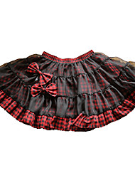 Saia Doce Rococo Cosplay Vestidos Lolita Xadrez Short / Mini Saia Para Plástico Reforçado com Fibra Algodão
