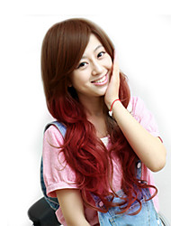 Japan and South Korea fashion models long hair brown red color big wave high temperature wire wig