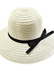 Bow Summer Straw Hat Cap Wide Brim Hawaii Folding Soft Sun Hat Casual Foldable Brimmed Beach Hats For Women