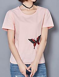 Tee-shirt Femme,Couleur Pleine Décontracté / Quotidien Mignon Eté Automne Manches Courtes Col Arrondi Spandex
