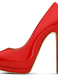 Women's Sexy Red Shiny Patent Leather High Heel Platform Pumps Ladies Peep Toe Extreme Heel Shoes 2017 Plus Size Spring Summer Autumn Shoes