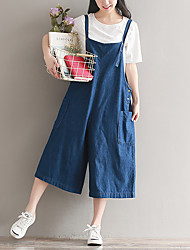 Women's High Rise Micro-elastic Overalls Pants,Simple Wide Leg Solid
