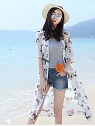 Damen Solide Einfach Lässig/Alltäglich T-shirt,Rundhalsausschnitt Kurzarm Seide Lichtdurchlässig