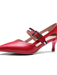 Women's Heels Spring Summer Gladiator PU Party & Evening Dress Casual Low Heel Buckle Red Black White
