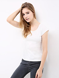 Damen Solide Einfach Ausgehen T-shirt,Rundhalsausschnitt Sommer Kurzarm Baumwolle Acryl Undurchsichtig