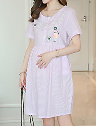 Maternity Summer Wear Fashionable Sweet  Embroidered Striped With Short Sleeves  Leisure Pregnant Women Dress
