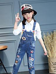 Para Meninas Jeans Casual Floral Outono