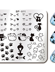 Cute Cat Design Nail Art Stamp Stamping Plates BORN PRETTY 6*6cm Square Template Cats Image Plate BP-X11
