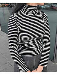 Damen Gestreift Einfach Lässig/Alltäglich T-shirt,Rollkragen Langarm Polyester Dünn
