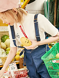 Damen Druck Einfach Niedlich Lässig/Alltäglich T-shirt,Rollkragen Kurzarm Baumwolle