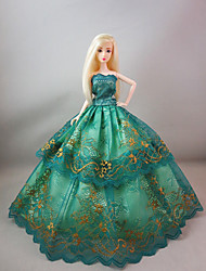 Party/Evening Dresses For Barbie Doll in Emerald Green For Girl's Doll Toy