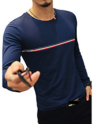 Men's Fashion Striped O Neck Long Sleeve T-Shirt/Cotton Spandex /Plus Size /Casual/Daily Simple