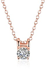 Women's Pendant Necklaces Chain Necklaces AAA Cubic Zirconia Square GeometricZircon Copper Silver Plated Gold Plated Rose Gold Plated Tin