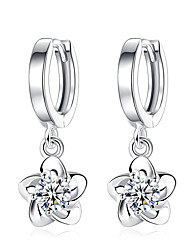 Women's Drop Earrings Floral Cubic Zirconia Platinum Plated Jewelry For Wedding Party Daily Casual