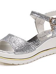 Women's Sandals Summer Comfort PU Outdoor Wedge Heel Buckle Silver Black Gold Walking