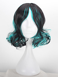 Short Curly Synthetic Lolita Cosplay Wig Japanese Anime Short Green Color with Black Sweet Lolita Costume Cosplay Heat Resistant
