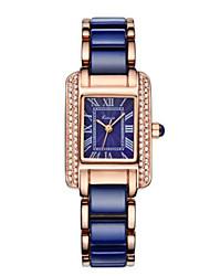 Mulheres Relógio de Moda Chinês Quartzo Cerâmica Banda Branco Azul