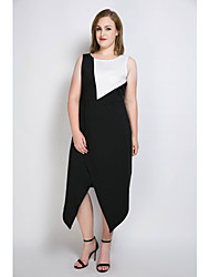 Really Love Women's Plus Size Casual/Daily Party Sexy Vintage Street chic A Line Loose Sheath Dress,Color Block Round Neck Midi Asymmetrical