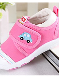 Girls' Flats Spring Fall First Walkers Fabric Outdoor Casual Low Heel Magic Tape Pink/White Blue Red Walking