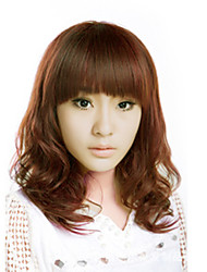 Japan and South Korea fashion lady short paragraph wig brown straight bangs natural wave high temperature wire wig
