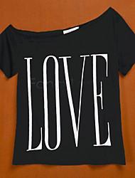 Tee-shirt Femme,Lettre Décontracté / Quotidien simple Manches Courtes Une Epaule Coton