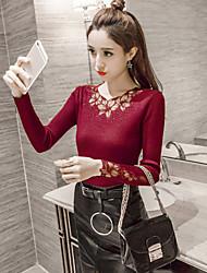 Damen Solide Street Schick Anspruchsvoll Lässig/Alltäglich T-shirt,Asymmetrisch Frühling Herbst Langarm Rot Schwarz Grau Baumwolle Mittel