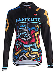 fastcute Cycling Jersey Women's Men's Kid's Unisex Long Sleeve Bike Sweatshirt Jersey TopsQuick Dry Front Zipper Breathable Soft
