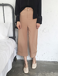 Women's High Rise Inelastic Chinos Pants Loose Solid
