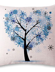 1 pcs Blue heart-shaped tree printing style linen pillow sets sofa cushions cover