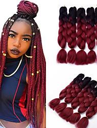 5pcs Box Braids Jumbo Hair Extensions 1B / Wine Red Color Kanekalon Hair Braids 500g