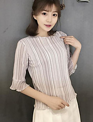 Women's Casual/Daily Simple Blouse,Solid Round Neck ¾ Sleeve Silk