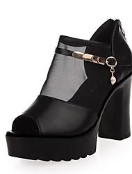Feminino-Saltos-Shoe transparente-Salto Grosso Anabela--Couro Ecológico-Ar-Livre Escritório & Trabalho Festas & Noite