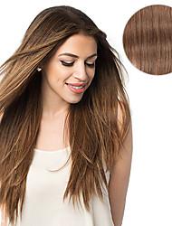 7 unid / set # 6 castanha grampo castanho em extensões de cabelo 14 polegadas 18 polegadas 100% cabelo humano