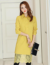 Women's Casual/Daily Simple Loose Dress,Solid Square Neck Knee-length Long Sleeve Cotton Summer Mid Rise Micro-elastic Medium