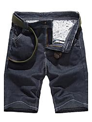 Homme simple Chinoiserie Taille Normale Jeans Short Pantalon,Droite Couleur Pleine