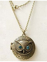 Blue Eyes Owl Circular Vintage Long Pendant Sweater Chain Necklace Women Office Lady Jewelry