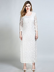 Really Love Women's Plus Size Going out Party Sexy Vintage Street chic Shift Sheath Lace Dress,Solid Round Neck Maxi ¾ Sleeve Cotton Polyester Spandex