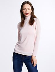 Damen Solide Sexy Lässig/Alltäglich T-shirt,Rollkragen Herbst / Winter Langarm Rosa / Schwarz / Grau Baumwolle Mittel